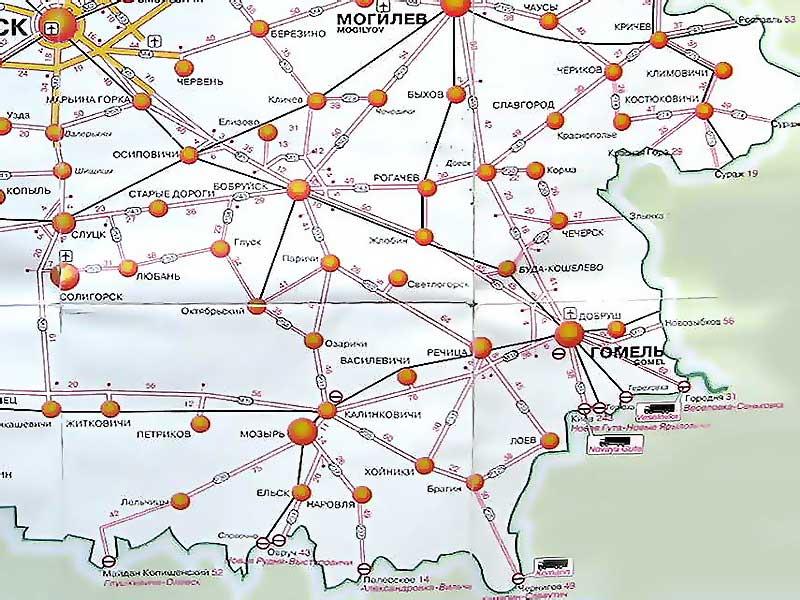Карта дорог Гомельской